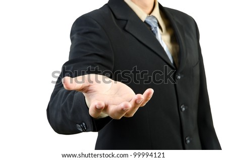 Businessman hand holding blank - stock photo