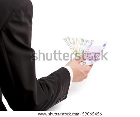 businessman hand holding euro bills isolated on white background - stock photo