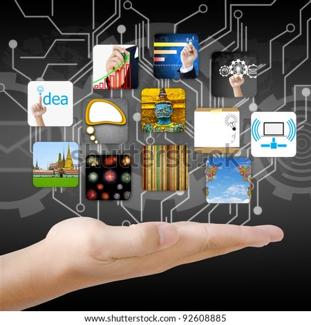 businessman hand holding image business collection - stock photo