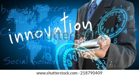 businessman hand holding innovation - stock photo