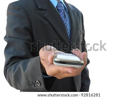 businessman hand holding mobile phone on white background - stock photo
