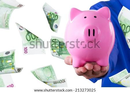 Businessman hand holding pink piggy bank and one hundred euro banknotes flying, isolated on white background. - stock photo