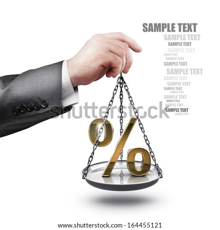 businessman hand holding Scale with procent symbols  isolated on white background High resolution  - stock photo