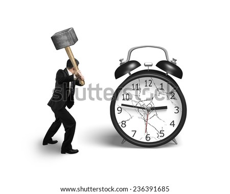 businessman hand holding sledgehammer hitting alarm clock with broken glass isolated on white background - stock photo