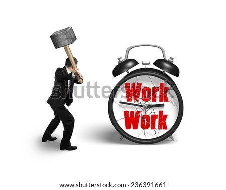 businessman hand holding sledgehammer hitting work clock with broken glass isolated on white background - stock photo