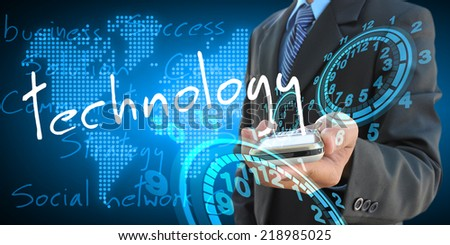 businessman hand holding technology - stock photo