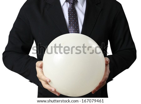 Businessman hand holding the Crystal Ball  - stock photo