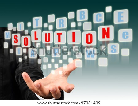 Businessman hand holding with red solution alphabet streaming images - stock photo