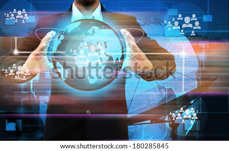 businessman hand holding  world Social Network Display