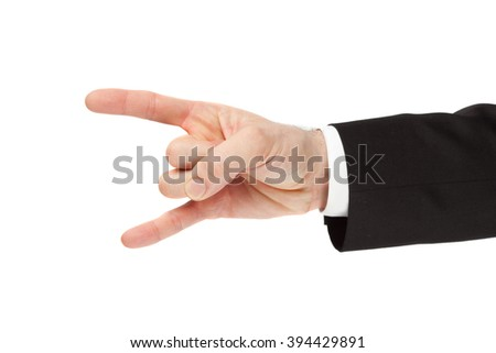 businessman hand horn isolated on white