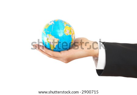 businessman hand on white with a globe