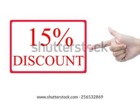 Businessman hand pointing 15%  - stock photo