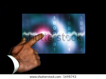 businessman hand pointing at a screen with waves and binary digits
