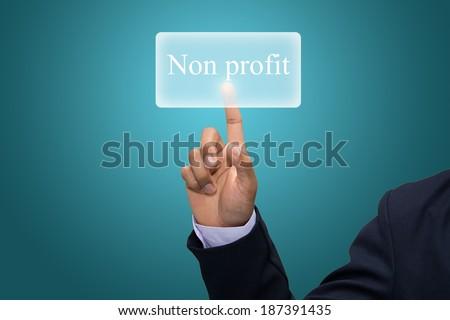 Businessman hand pointing Non profit  - stock photo