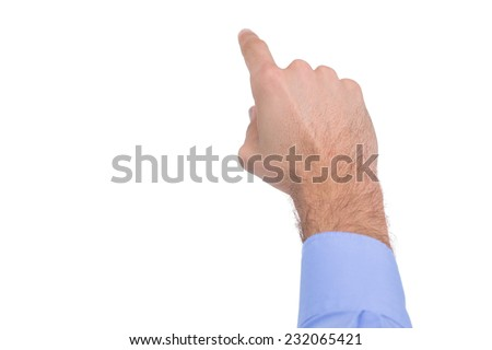 Businessman hand pointing something on white background