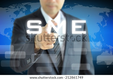 Businessman hand pointing to SME on virtual screen