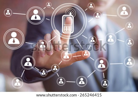 Businessman hand press telephone icon web button - stock photo