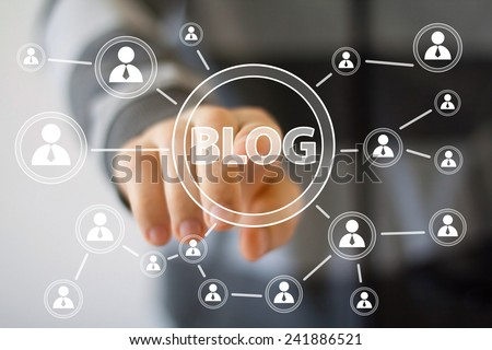 Businessman hand press web blog button icon - stock photo