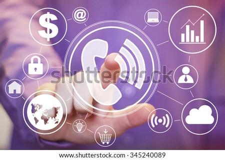 Businessman hand press web telephone button virtual set. - stock photo