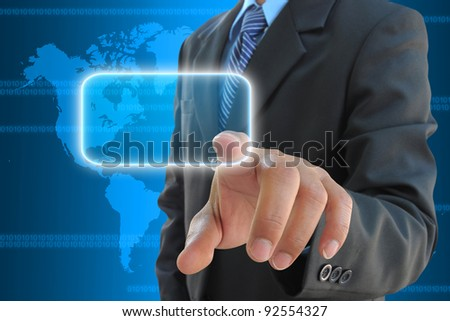 businessman hand pressing a button on a touch screen interface - stock photo