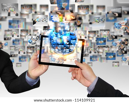 Businessman hand pressing business collection - stock photo