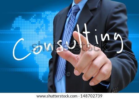 businessman hand pressing consulting button on a touch screen interface  - stock photo