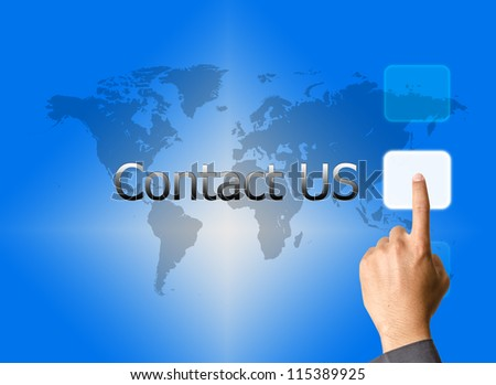 businessman hand pressing contact us button on a touch screen interface - stock photo