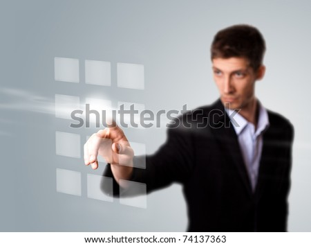 Businessman hand pressing digital button . selective focus - stock photo