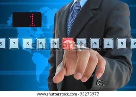 businessman hand pressing 1 floor in elevator - stock photo
