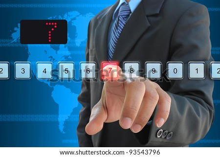 businessman hand pressing 7 floor in elevator - stock photo