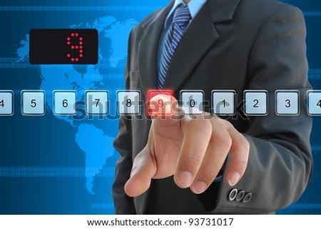 businessman hand pressing 9 floor in elevator - stock photo