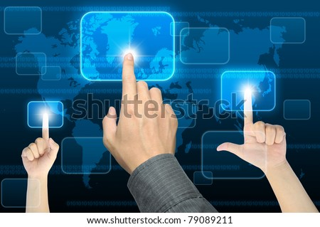 businessman hand pushing a button on a touch screen interface