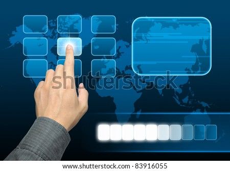 businessman hand pushing a button on a touch screen interface - stock photo
