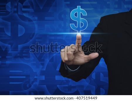 Businessman hand pushing dollar currency icon on blue currency background