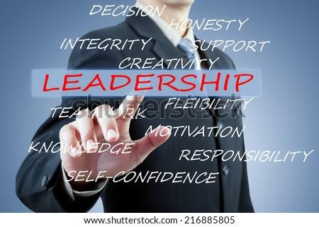 businessman hand pushing leadership button - stock photo