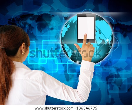 businessman hand pushing tablet computer - stock photo