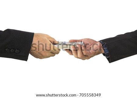 Businessman hand receiving stack of dollar bills money to another hand isolated on white, clipping path