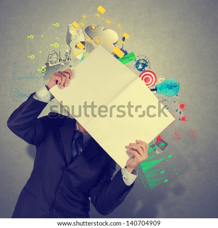 businessman hand show black cover book of success business as concept - stock photo