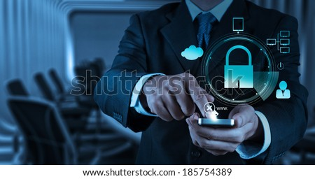 businessman hand show 3d mobile phone with padlock as Internet security online business concept  - stock photo