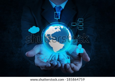 businessman hand show 3d world with padlock as Internet security online business concept  - stock photo