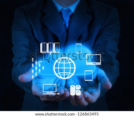 businessman hand showing about cloud network idea concept - stock photo
