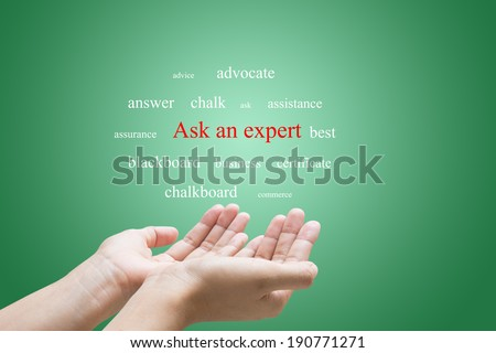 Businessman Hand Showing Ask an expert Word  - stock photo