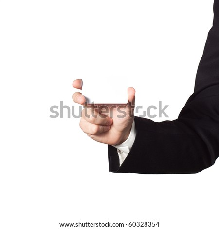 Businessman hand showing blank card on white background - stock photo
