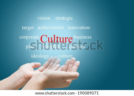 Businessman Hand Showing Culture Word   - stock photo