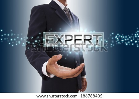 Businessman hand showing expert button on virtual screen.  - stock photo
