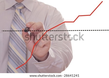 businessman hand showing graph - stock photo