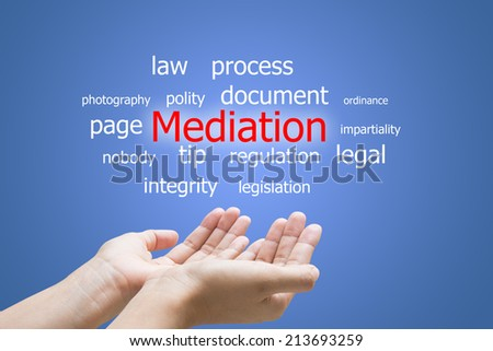 Businessman Hand Showing Mediation Word  - stock photo
