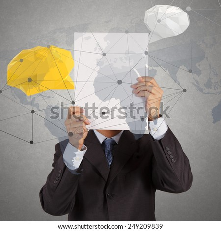 businessman hand showing social network structure book with low poly geometric speech bubble  - stock photo