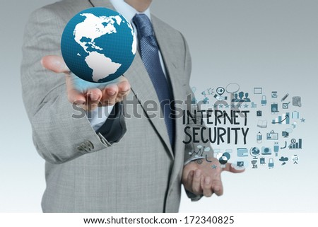 businessman hand showing the earth with  Internet security online business as concept  - stock photo