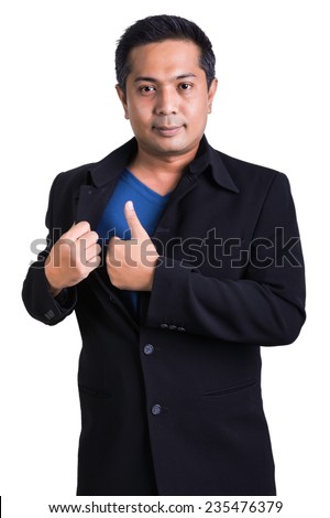Businessman hand showing thumbs up - stock photo